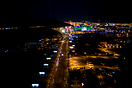 Las Vegas Blvd. shown in the center of the frame which leads to the fa...