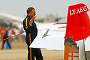 Jurgis Kairys mentally rehearsing his aerobatic sequence at the 2007 A...