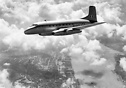 Avro Ashton prototype jet airliner while flying overhead the city of L...