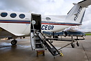 Cega Air Ambulance. View of the specially designed stretcher lifting u...