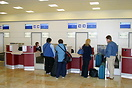 Passengers check-in for the first flights at Robin Hood Airport