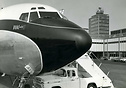 Picture of the first revenue-earning BOAC Boeing 707 service after arr...