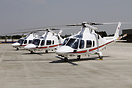 All 3 Augusta 109E helicopters of 32 (Royal) Squadron lined at their h...