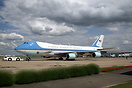 Air Force One being repositioned to a remote stand after the arrival o...
