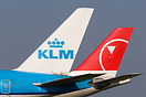 Composite Image of a KLM and Northwest tail