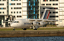 Air France for CityJet's RJ85 powers out of London City airport just b...