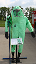 A hooded T-815 CAS 32 chemical-resistant suit on display at Caslav ope...