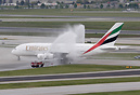The traditional water cannon salute to inauguration of A380 operations...