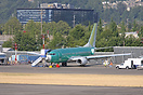 A new B737 parked outside the factory at Renton, having the cabin fitt...