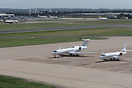 Gulfstream V & Falcon 2000 sit on the Elmdon apron while Terminal Two ...