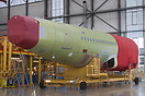 This rear A320 fuselage is waiting to enter the final assembly line as...