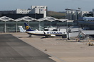 Aerial view showing a Ryanair 737 and Flybe Dash-8 parked on Terminal ...