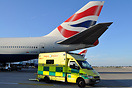 London Ambulance on the scene to attend a sick passenger on a recently...