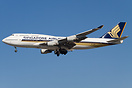 Singapore Airlines with new large titles landing at LAX