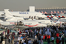A sunny afternoon on an average public day at the 2009 Dubai Air Show....