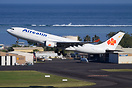 Aircalin Airbus 330 departing from Papeete in front of the Air Moorea ...