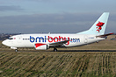 New paint for Bmibaby Boeing 737 G-BVKB it now has billboard titles, b...