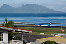 An Air Tahiti Nui Airbus 340 taxying to the threshold of runway 04 wit...