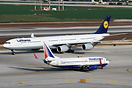 With Lufthansa A340-642X D-AIHS giving an idea how big the A340-600 re...