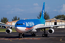 An Air Tahiti Nui Airbus 340 taxying to the terminal after landing at ...