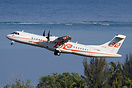 An Air Tahiti ATR72 departing from Papeete International airport, seen...