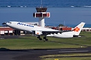 An Aircalin Airbus 330 departing from Tahiti Faa'a Intl. airport. The ...